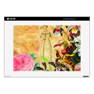 "Beautiful Vintage Woman Flower Decal For 15"" Laptop"