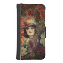Beautiful Vintage Woman Flower Garden iPhone SE/5/5s Wallet Case