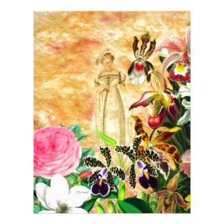 Beautiful Vintage Woman Flower Letterhead