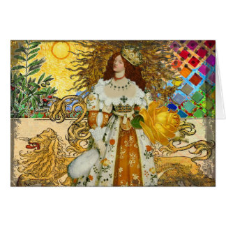 Beautiful Vintage Woman Surrealistic Leo Astrology Card