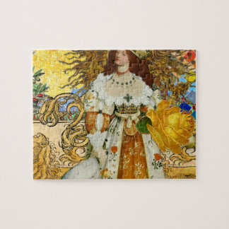 Beautiful Vintage Woman Surrealistic Leo Astrology Jigsaw Puzzle