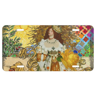 Beautiful Vintage Woman Surrealistic Leo Astrology License Plate