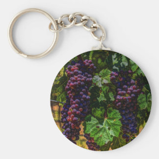 Beautiful vintaget grapes on the vine. keychain