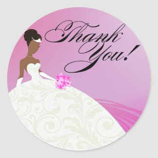 Beautiful Violet and White Luxe Thank You Classic Round Sticker