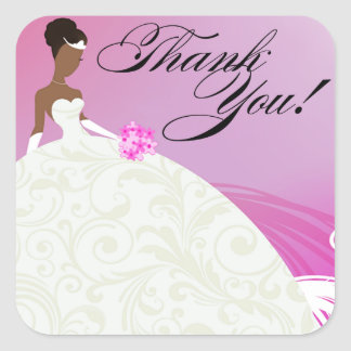 Beautiful Violet and White Luxe Thank You Square Sticker