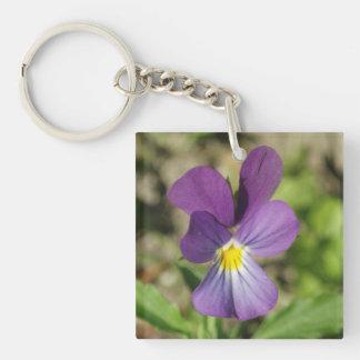 Beautiful violet flower photo keychain