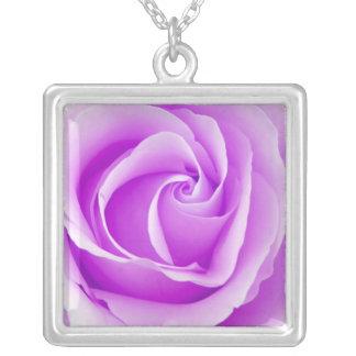 Beautiful Violet Purple Rose Pendant Necklace