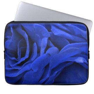Beautiful vivid blue velvet roses floral photo computer sleeve