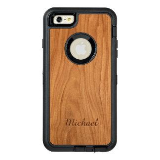 Beautiful Walnut Wood Grain Look with Custom Name OtterBox Defender iPhone Case