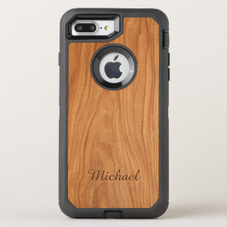 Beautiful Walnut Wood Grain Look with Name OtterBox Defender iPhone 7 Plus Case
