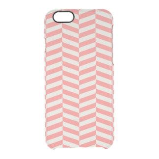 Beautiful warm pink beige zigzag geometric pattern clear iPhone 6/6S case