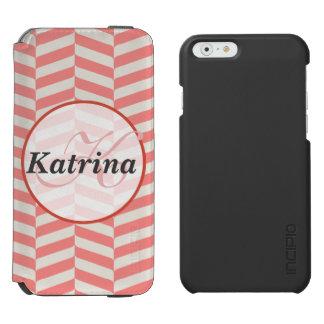 Beautiful warm pink beige zigzag geometric pattern iPhone 6/6s wallet case