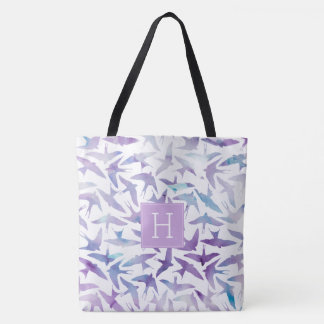 Beautiful Watercolor Birds Pattern Tote Bag