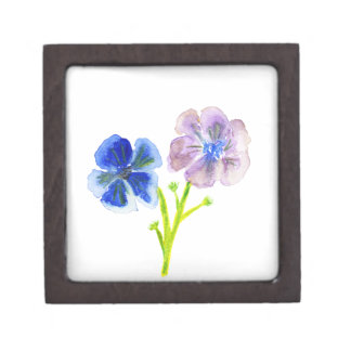 Beautiful watercolor blue and purple anemones gift box