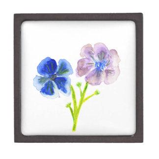 Beautiful watercolor blue and purple anemones keepsake box