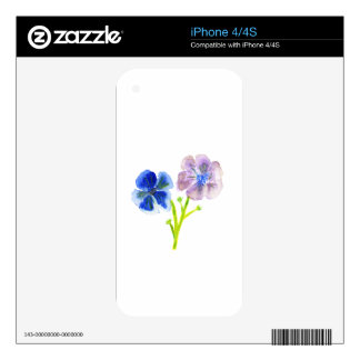 Beautiful watercolor blue and purple anemones skins for iPhone 4S