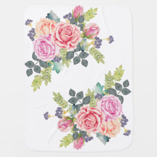 Beautiful Watercolor Bouquet of Pink Peach Roses Baby Blanket