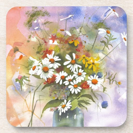 Beautiful Watercolor Daisie and Clover Coaster