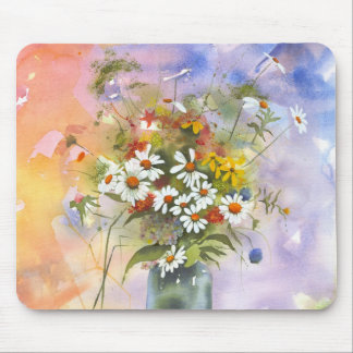 Beautiful Watercolor Daisie and Clover Mouse Pad