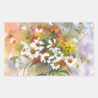 Beautiful Watercolor Daisie and Clover Rectangular Sticker