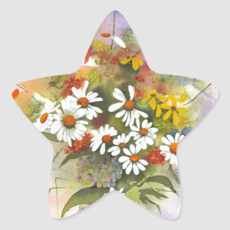 Beautiful Watercolor Daisie and Clover Star Sticker
