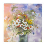 Beautiful Watercolor Daisie and Clover Ceramic Tile