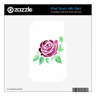 Beautiful watercolor dark pink rose iPod touch 4G skins