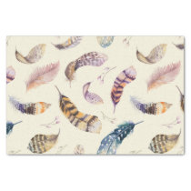 Beautiful Watercolor Feathers Pattern Tissue Paper