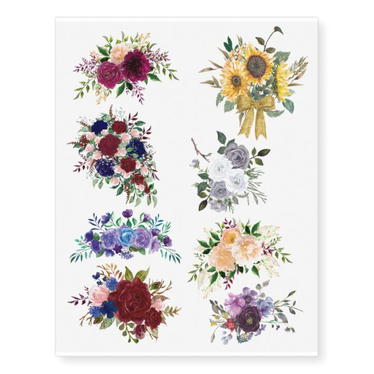 91f886579 Beautiful Watercolor Floral Flower Bouquets Rose Temporary Tattoos ...