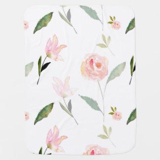 Beautiful Watercolor Floral Receiving Blanket