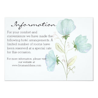 Beautiful Watercolor Floral wedding information Card