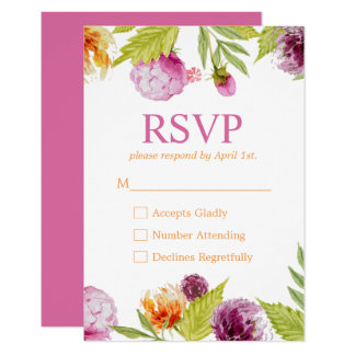 Beautiful Watercolor Flowers RSVP Response Card