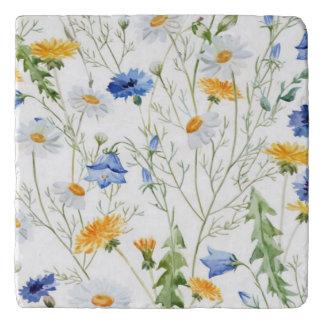 Beautiful Watercolor Flowers, Travertine Tile Trivet