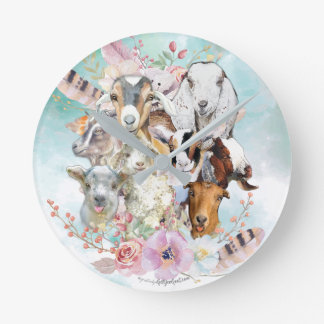 Beautiful Watercolor GOAT Collage   by GetYerGoat™ Round Clock