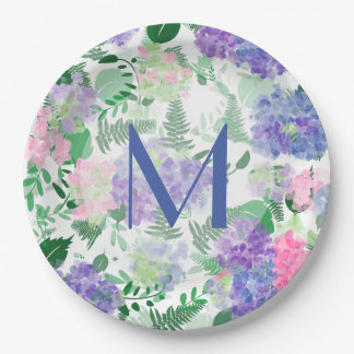 Beautiful Watercolor Hydrangea Mix Paper Plate