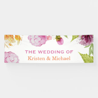 Beautiful Watercolor Peonies Floral Wedding Party Banner