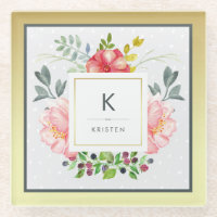 Beautiful Watercolor Peonies on Gold with Monogram Glass Coaster