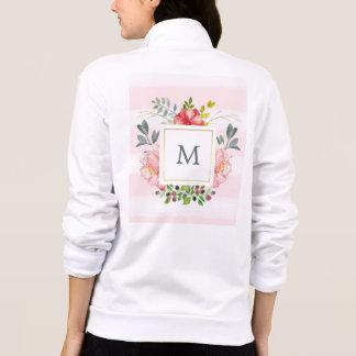 Beautiful Watercolor Peony Flowers and Monogram Jacket