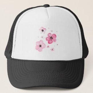 Beautiful watercolor pink flowers trucker hat