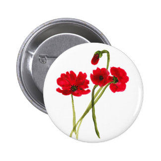Beautiful watercolor poppies button