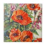 Beautiful Watercolor Poppies Ceramic Tile