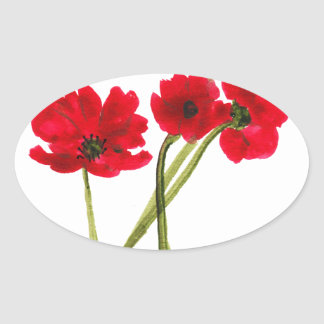 Beautiful watercolor poppies oval sticker