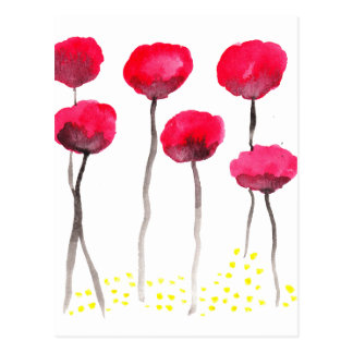 Beautiful watercolor poppies postcard