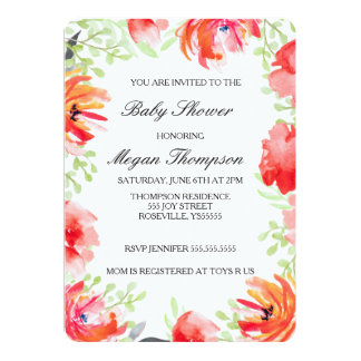 Beautiful Watercolor Poppy Flower Baby Shower Card
