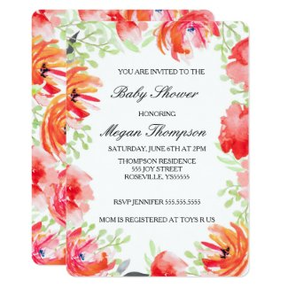 Beautiful Watercolor Poppy Flower Baby Shower Invitation