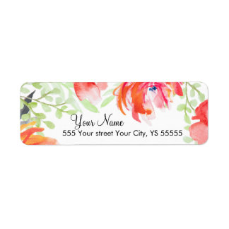 Beautiful Watercolor Poppy Flower Design Label