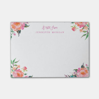 Beautiful Watercolor Purple Pink Flowers Post-it® Notes