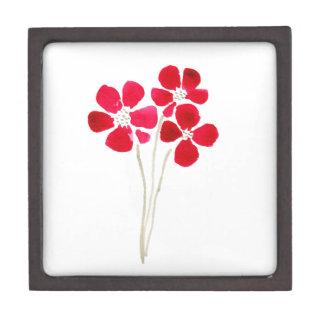Beautiful watercolor red anemones jewelry box