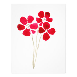 Beautiful watercolor red anemones letterhead