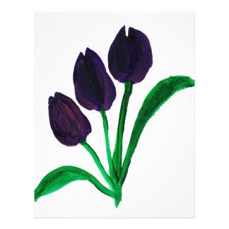 Beautiful watercolor tulips letterhead